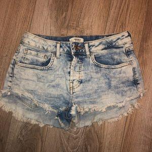 high rise acid wash denim shorts